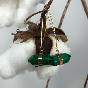 Hand crafted green and gold ear rings
